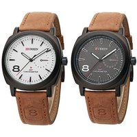 Stylish Curren Watch Combo Of White  Black Dial For Mens