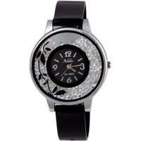 Addic Winsome Sparkling Crystal Filled Dial Black Analog Watch For Women