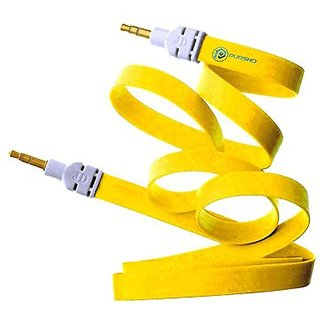 Simple  Stylish 3.5mm Male to Male Aux Cable/ Premium Metal Connector and Shell Audiophile Grade Pvc Tangle-free Material (Yellow) for HTC One Remix