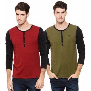 Rigo Solid Henley Neck T-Shirt for Men (Pack of 2)