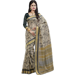 Sareemall Cream  Black Floral Print Fancy Art Silk Saree With Unstitched Blouse
