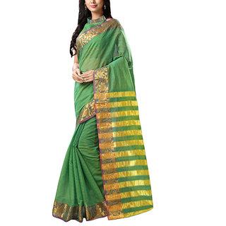 Sareemall Light Green Printed Tassar Silk Saree With Unstitched Blouse