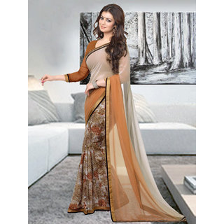 Trendz Apparels Beige Georgette Printed Saree With Blouse