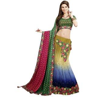 Aagaman Fashion Fascinating Green Colored Embroidered Net Viscose Lehenga Choli 3132