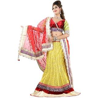 Aagaman Fashion Marvelous Velvet Bordered Wedding Wear Net Lehenga Choli 10007