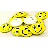 50Pcs Smile Face Badge Pin Button Broochs Smiley Face Smile Open Eyes Fun Pin Badge Smiling Kids Gift Cute Waiter Act Loving