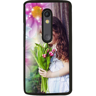 ifasho Girl with flower in hand Back Case Cover for Moto G3