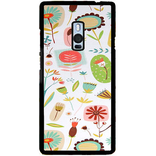 ifasho Animated Pattern colrful flower with leaves Back Case Cover for One Plus Two