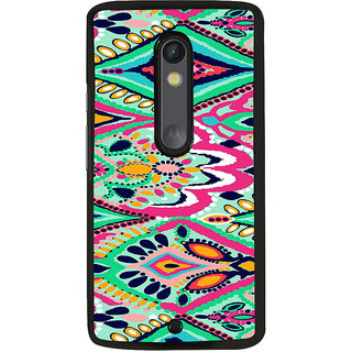 ifasho Orange Colour rectangular Pattern Back Case Cover for Moto X Play