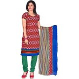 Khushali Presents Printed Crepe Chudidar Unstitched Dress Material(MultiGreen)