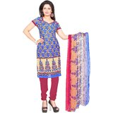Khushali Presents Printed Crepe Chudidar Unstitched Dress Material(MultiPink)