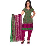 Khushali Presents Printed Crepe Chudidar Unstitched Dress Material(Mehandi GreenRani)