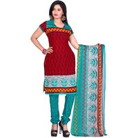 Khushali Presents Printed Crepe Chudidar Unstitched Dress Material(RedRama)