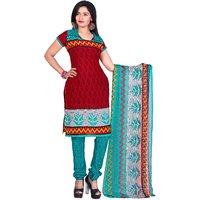 Khushali Presents Printed Crepe Chudidar Unstitched Dress Material(RedRama)
