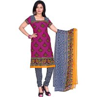 Khushali Presents Printed Crepe Chudidar Unstitched Dress Material(PinkGrey)
