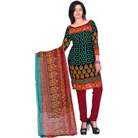 Khushali Presents Printed Crepe Chudidar Unstitched Dress Material(MultiMaroon)