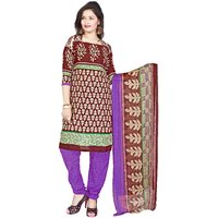 Khushali Presents Printed Crepe Chudidar Unstitched Dress Material(MultiPurple)