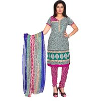 Khushali Presents Printed Crepe Chudidar Unstitched Dress Material(MultiPinkWhite)