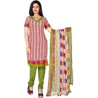 Khushali Presents Printed Crepe Chudidar Unstitched Dress Material(RedWhiteLight Green)