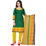Khushali Presents Printed Crepe Chudidar Unstitched Dress Material(GreenYellow)