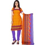 Khushali Presents Printed Crepe Chudidar Unstitched Dress Material(Dark YellowPurple)