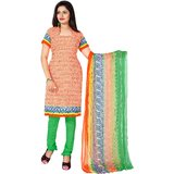 Khushali Presents Printed Crepe Chudidar Unstitched Dress Material(OrangeLight Green)