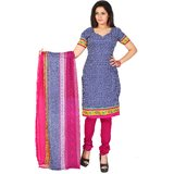 Khushali Presents Printed Crepe Chudidar Unstitched Dress Material(Navy BlueWhiteRani)
