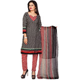 Khushali Presents Printed Crepe Chudidar Unstitched Dress Material(GreyBlackRedGrey)