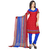 Khushali Presents Printed Crepe Chudidar Unstitched Dress Material(RedBlue)