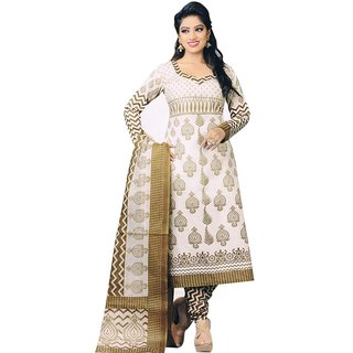 Trendz Apparels Off-White Poly cotton Casual Wear Un-Stitched Dress Material