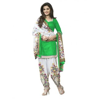 Trendz Apparels Green Poly cotton Casual Wear Un-Stitched Dress Material