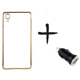 Meephone Back Cover for LENOVO A7000 (GOLDEN) With Car Adapter