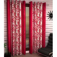 iLiv Kolaveri Pink Designer Eyelet Window Curtain - 5feet