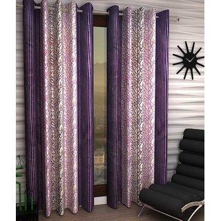iLiv Chinar Purple Designer Eyelet Door Curtain - 7feet