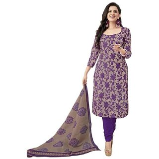 Trendz Apparels Purple Poly cotton Casual Wear Un-Stitched Dress Material
