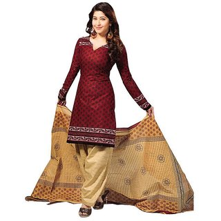Trendz Apparels Maroon Poly cotton Casual Wear Un-Stitched Dress Material