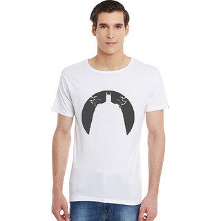 Incynk Batman Men WHITE Printed Half Sleeve Tshirt