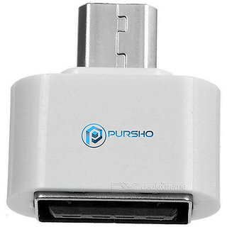 Combo of 2 MicroUSB to Standard USB 2.0 OTG On The Go Adapter for Micromax A110 Canvas 2(White)