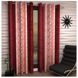 iLiv Chinar Maroon Designer Eyelet Window Curtain - 5feet set of 4