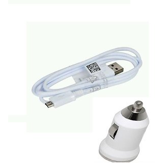 Combo of Bullet Car Charger and Micro USB Data Sync and Charging Cable for  CHEVROLET SAIL HATCHBACK1.2 LS (White)