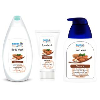 Healthvit Almond Oil Bath  Body Care Kit (Bodywash,Handwash,Facewash)