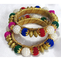 Colourfull Pearl Golden Kada Bangles