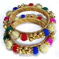 Colourfull Pearl Golden Ghungaru Kada Bangles