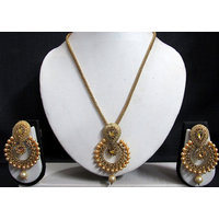 Golden Stone Big Polki Pendant Necklace Set