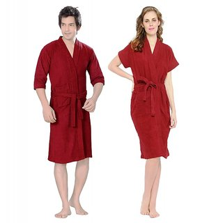 Imported Cotton Bathrobes Combo (Pack of 2)- Maroon