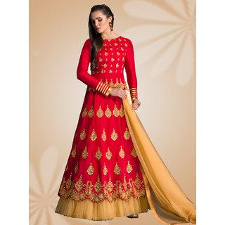 Thankar Red  Cream Embroidered Banglori Silk Anarkali Suit