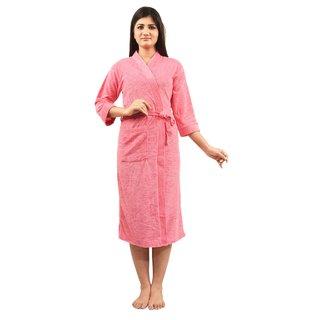 Imported Cotton Bathrobe (Pink) - Full