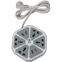 Callmate 4 USB Hexagon Surge Protector With 4 In 1 Cable-Gray