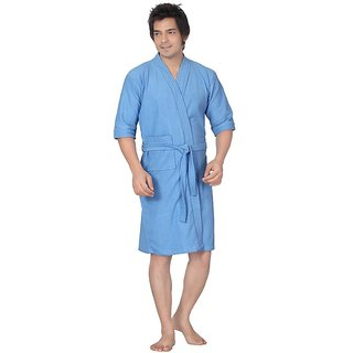 Imported Cotton Bathrobe (Sky Blue)-Full