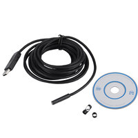 7mm Lens 5M USB Endoscope Waterproof 6 LED Borescope Tube Inspection Video Photo Capture Mini Camera With Driver CD